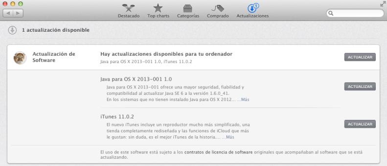 Actualización Java y iTunes