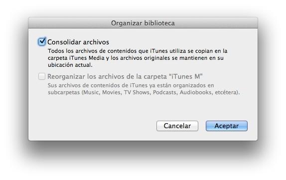 Consolidar biblioteca iTunes