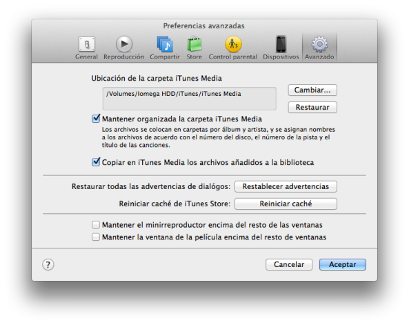 Preferencias iTunes