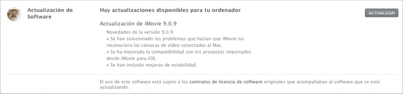 Actualización iMovie 9.0.9