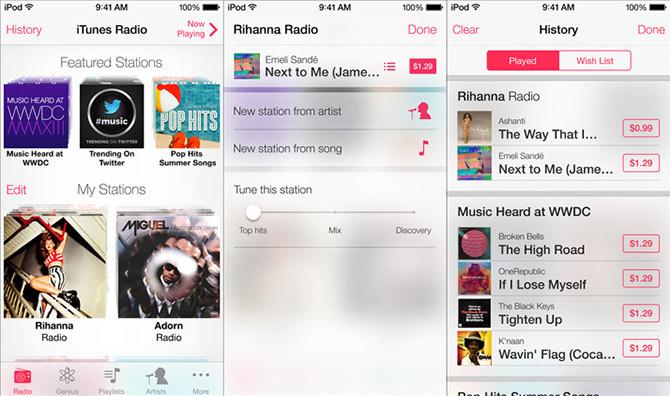 iOS 7 Música iTunes Radio