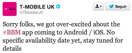 T-Mobile desmiente fecha BBM