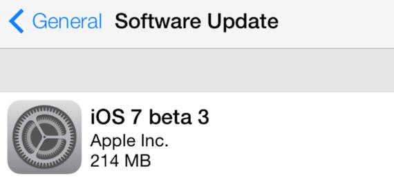 iOS Beta 3 actualización