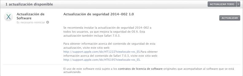 Actualización OS X Mavericks y Safari