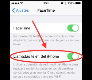 Activar Llamada telef. iPhone