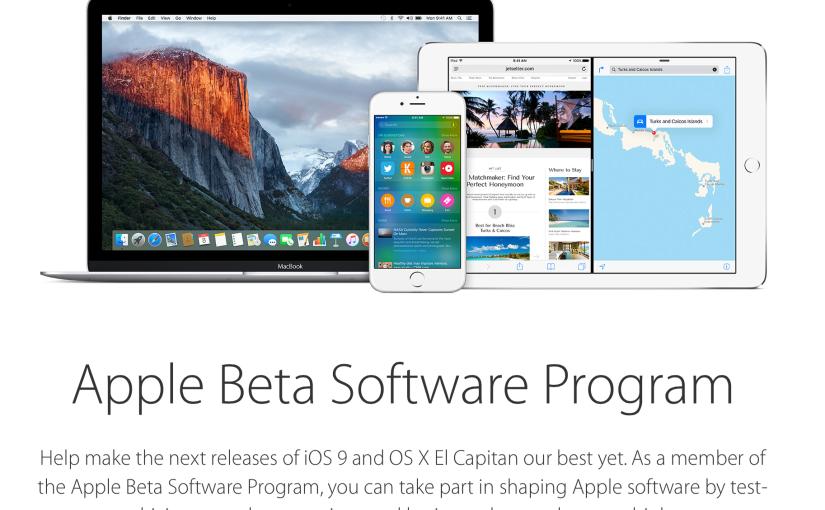 Disponibles la segunda Beta pública iOS 9 y OS X10.11