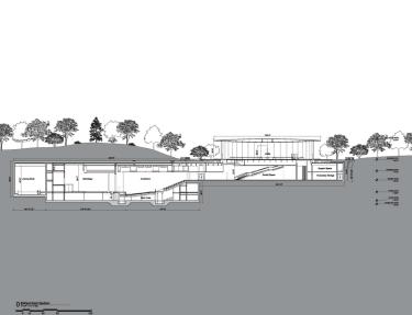 Plano transveral del diseño final del Steve Jobs Theater