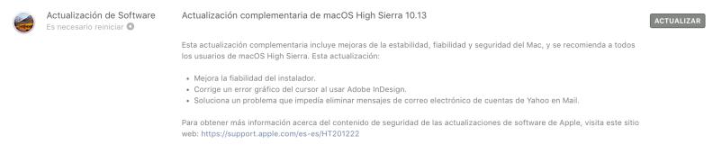Actualizacióm complementaria macOS 10.13 High Sierra