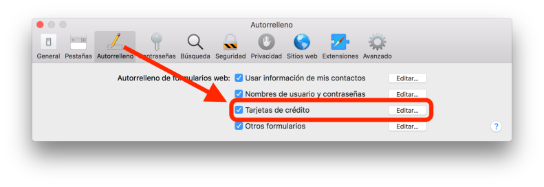 Llavero de iCloud Tarjetas