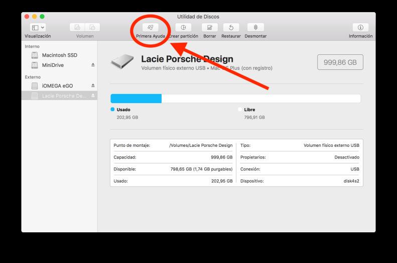 macOS Utilidad de discos Primera Ayuda 2